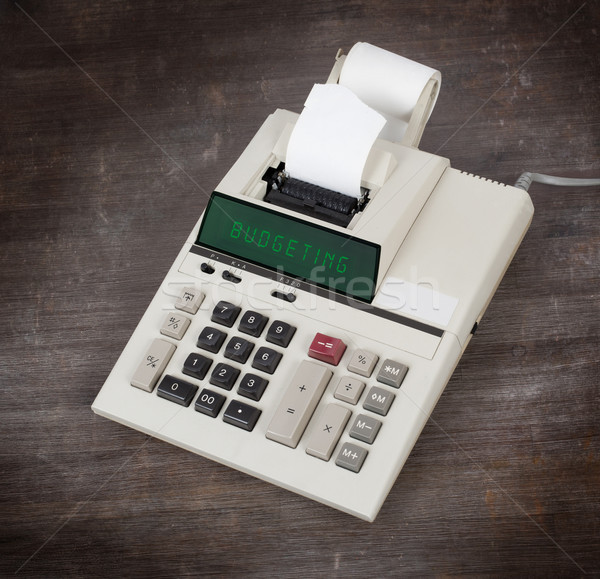 Stock fotó: öreg · számológép · költségvetést · készít · mutat · szöveg · kirakat