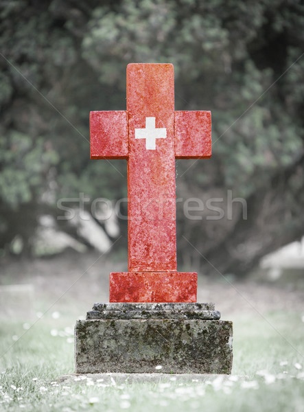 Lápida sepulcral cementerio Suiza edad capeado hierba Foto stock © michaklootwijk