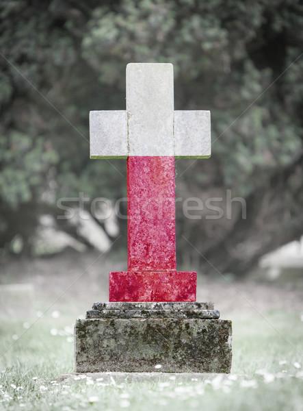 Lápida sepulcral cementerio Polonia edad capeado bandera Foto stock © michaklootwijk