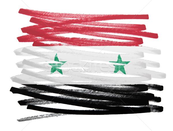 Vlag illustratie Syrië pen ontwerp kunst Stockfoto © michaklootwijk