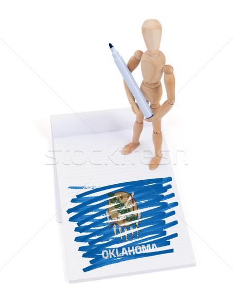 Fából készült próbababa rajz Oklahoma zászló test Stock fotó © michaklootwijk