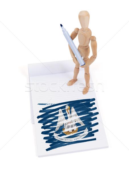 Legno mannequin disegno Louisiana bandiera corpo Foto d'archivio © michaklootwijk