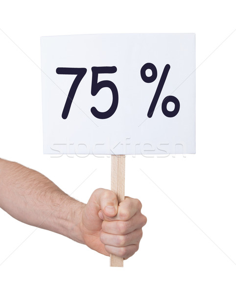 Sale - Hand holding sigh that says 75% Stock photo © michaklootwijk