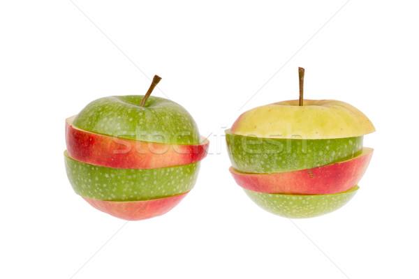 Zdjęcia stock: Zielone · czerwone · jabłko · odizolowany · biały · żywności