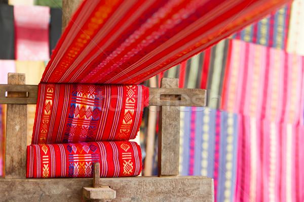 Hecho a mano seda industria textil bufanda edad máquina Foto stock © michaklootwijk
