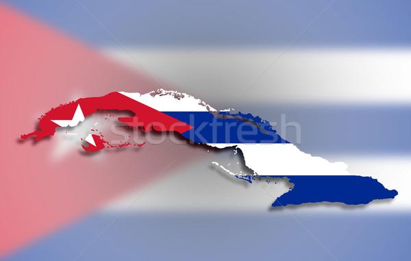 карта Куба флаг изолированный фон знак Сток-фото © michaklootwijk