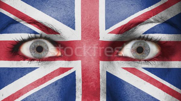 Ogen vlag geschilderd gezicht Verenigd Koninkrijk Stockfoto © michaklootwijk