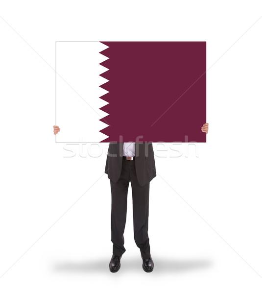 Işadamı büyük kart bayrak Katar Stok fotoğraf © michaklootwijk