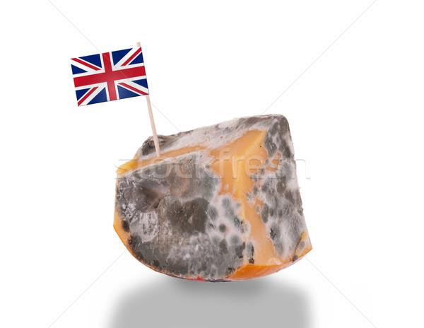 Pezzo formaggio Bad isolato bianco bandiera Foto d'archivio © michaklootwijk