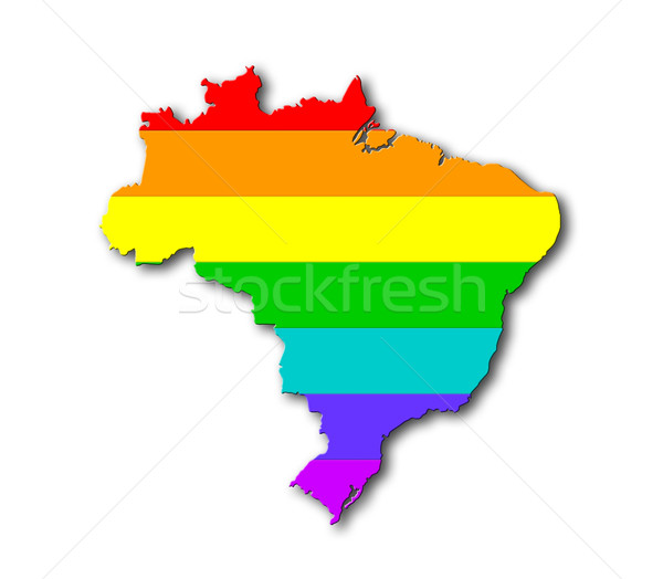 Бразилия радуга флаг шаблон карта путешествия Сток-фото © michaklootwijk
