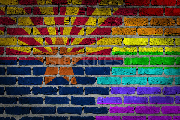 Sötét téglafal jogok Arizona textúra zászló Stock fotó © michaklootwijk