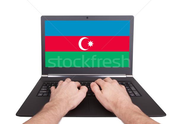 рук рабочих ноутбука Азербайджан экране Сток-фото © michaklootwijk