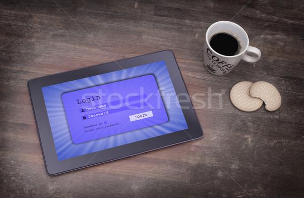 Inloggen interface tablet gebruikersnaam wachtwoord Blauw Stockfoto © michaklootwijk