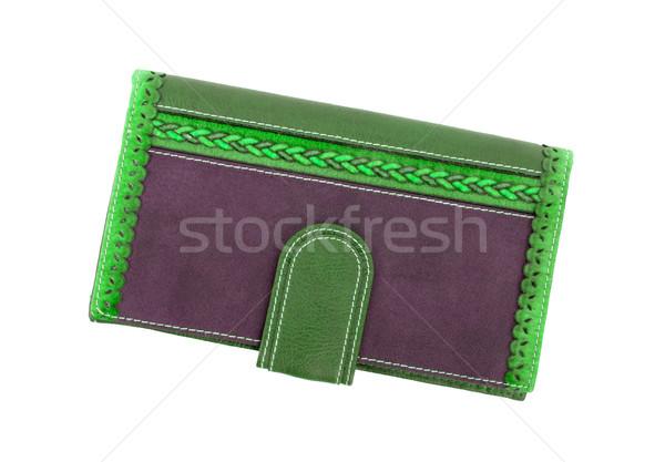 старомодный бумажник белый фон Финансы кожа Сток-фото © michaklootwijk