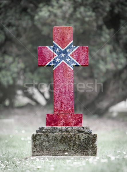 Gravestone in the cemetery - Confederation flag Stock photo © michaklootwijk