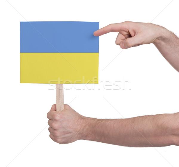 Kéz tart kicsi kártya zászló Ukrajna Stock fotó © michaklootwijk