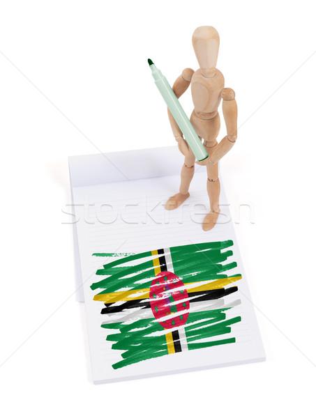 Houten etalagepop tekening Dominica vlag papier Stockfoto © michaklootwijk