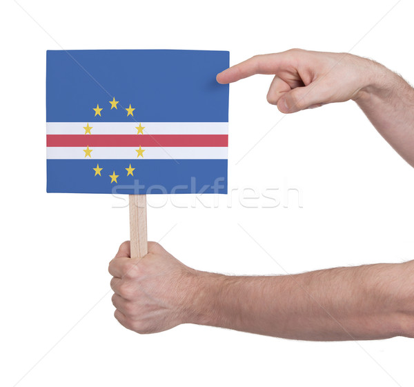 Stock photo: Hand holding small card - Flag of Cape Verde