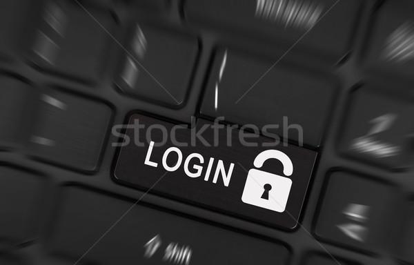 Nero login pulsante moderno tastiera del computer portatile business Foto d'archivio © michaklootwijk