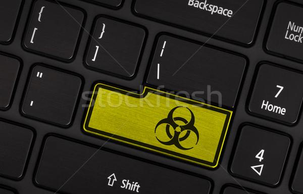 シンボル ボタン キーボード バイオハザード 警告 黄色 ストックフォト © michaklootwijk