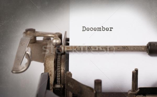Oude schrijfmachine december vintage opschrift textuur Stockfoto © michaklootwijk