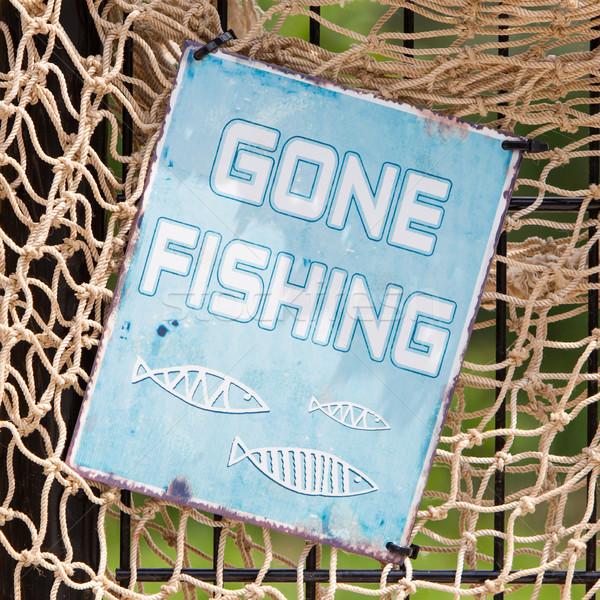 Gone fishing sign Stock photo © michaklootwijk