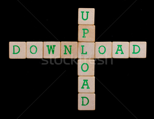 Green letters on old wooden blocks (upload, download) Stock photo © michaklootwijk