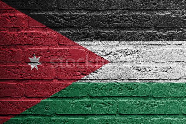 Murem malarstwo banderą Jordania odizolowany farby Zdjęcia stock © michaklootwijk