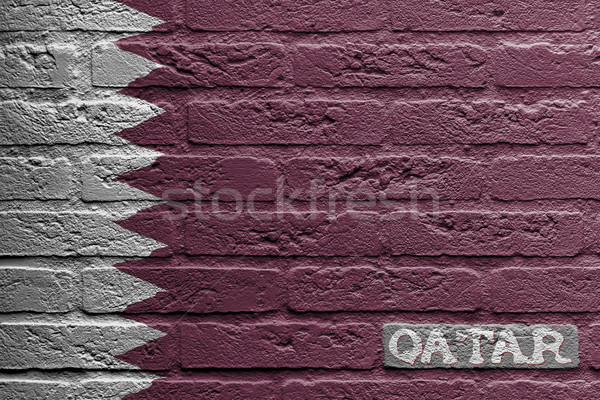 Brick wall with a painting of a flag, Qatar Stock photo © michaklootwijk