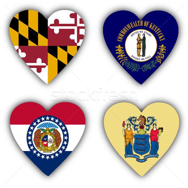 Zászlók forma szív különböző vidék Amerika Stock fotó © michaklootwijk