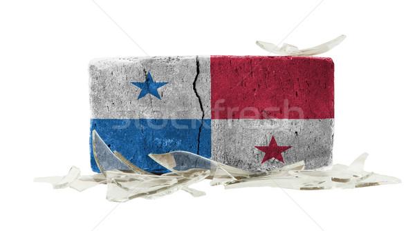 Mattone vetri rotti violenza bandiera Panama muro Foto d'archivio © michaklootwijk
