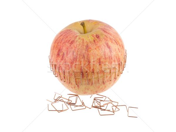 Szeletel alma sárgaréz gyümölcs egészség piros Stock fotó © michaklootwijk