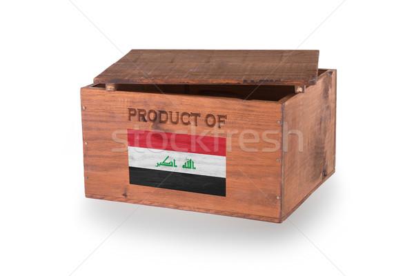 Stock fotó: Fából · készült · láda · izolált · fehér · termék · Irak