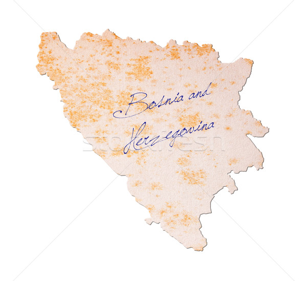 Régi papír kézírás Bosznia és Hercegovina kék tinta oktatás Stock fotó © michaklootwijk