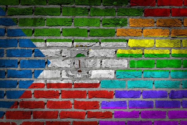 Buio muro di mattoni diritti Guinea Equatoriale texture bandiera Foto d'archivio © michaklootwijk