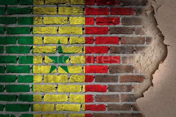 ストックフォト: 暗い · レンガの壁 · 石膏 · セネガル · テクスチャ · フラグ
