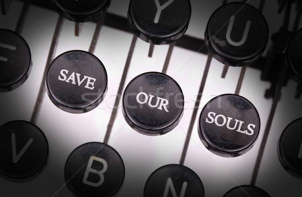 Máquina de escrever especial botões salvar teclado chave Foto stock © michaklootwijk
