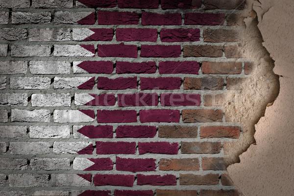 Escuro parede de tijolos gesso Catar textura bandeira Foto stock © michaklootwijk