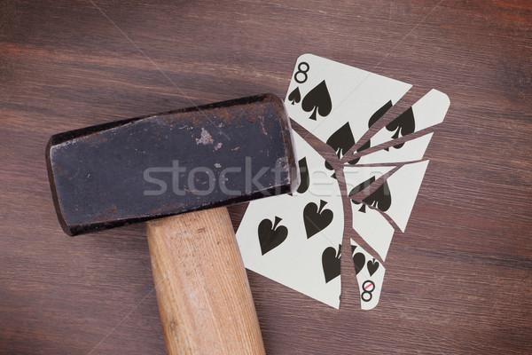 Kalapács törött kártya nyolc pikk klasszikus Stock fotó © michaklootwijk