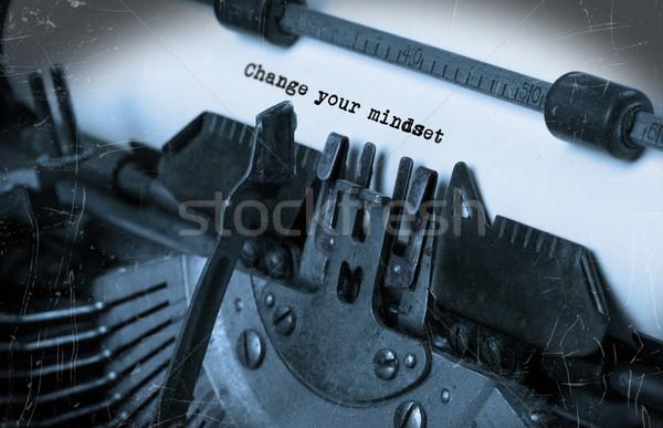 Stock fotó: öreg · írógép · papír · közelkép · nézőpont · szelektív · fókusz