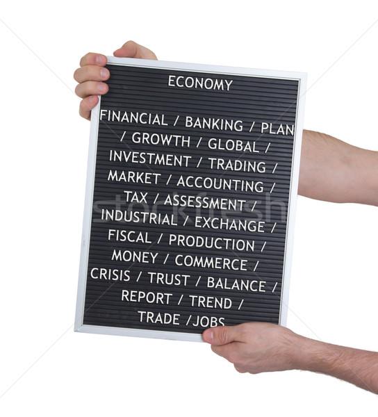 Economia plastica lettere vecchio menu bordo Foto d'archivio © michaklootwijk