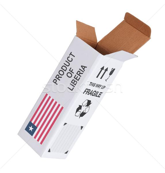 Exportar produto Libéria papel caixa Foto stock © michaklootwijk