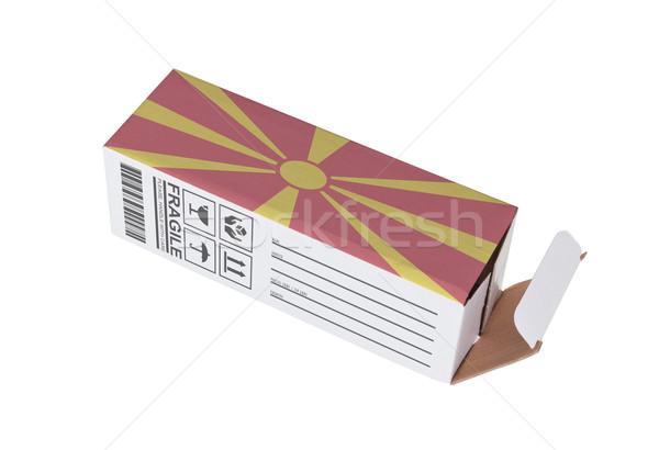 Export termék Macedónia kinyitott papír doboz Stock fotó © michaklootwijk