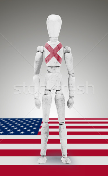 Wood figure mannequin with US state flag bodypaint - Alabama Stock photo © michaklootwijk