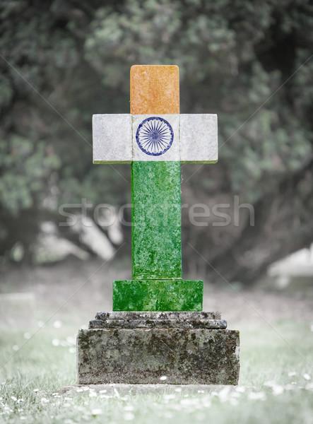 Lápida sepulcral cementerio India edad capeado hierba Foto stock © michaklootwijk