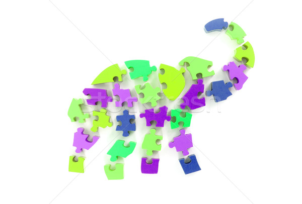 Colorful puzzle pieces in elephant shape Stock photo © michaklootwijk