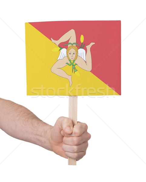 Mano pequeño tarjeta bandera sicilia Foto stock © michaklootwijk