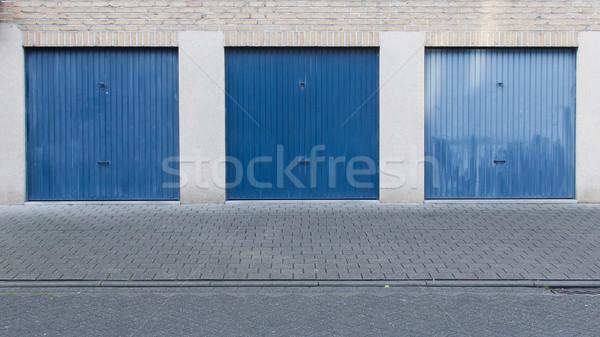 Stock fotó: öreg · kék · ajtó · garázs · üres · utca