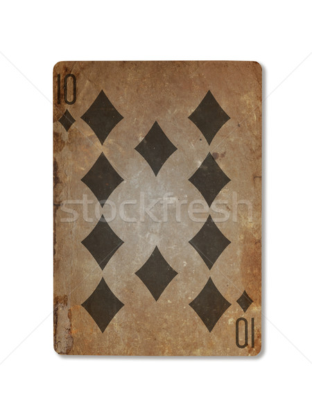 Very old playing card, ten of diamonds Stock photo © michaklootwijk