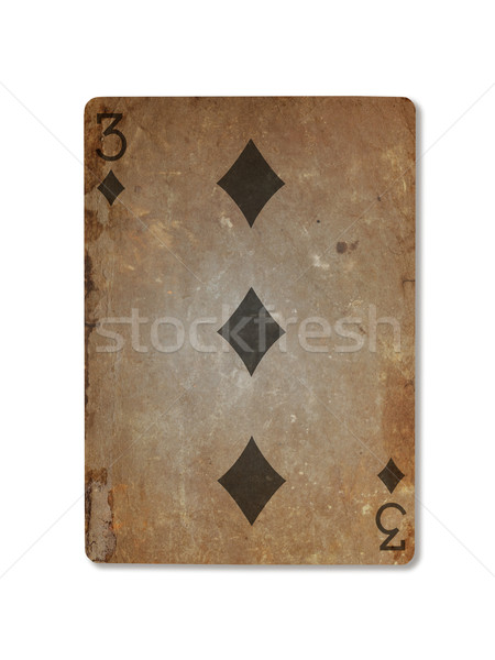Very old playing card, three of diamonds Stock photo © michaklootwijk